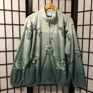 Light blue rose zip fleece jacket sweater M womens